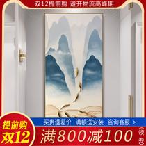 纯手工九鱼图油画现代山水入户玄关挂画客厅装饰画手绘新中式轻奢