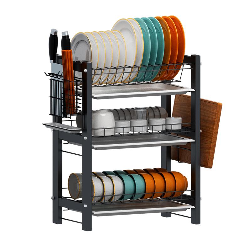 厨房晾碗碟置物架不锈钢放台面筷盘刀具收纳盒多功能家用沥水架子