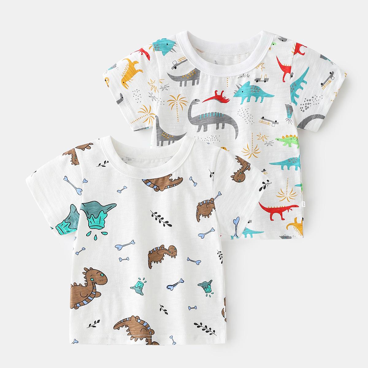 2021夏季韩版新款童装儿童T恤 中小童棉潮款恐龙图案上衣男童短袖