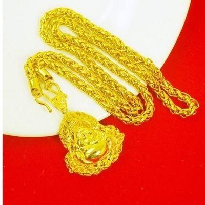 越南沙金项链男士欧币镀纯黄金链子不掉色正品网红首饰霸气时尚粗