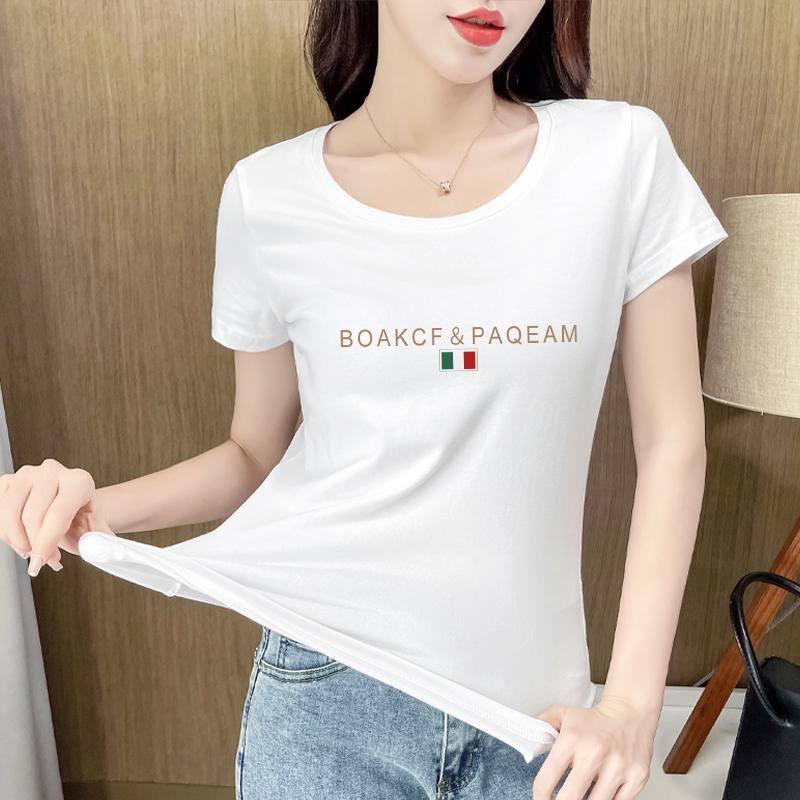 白色印花短袖t恤纯棉女士2021年新款夏季修身打底衫个性体恤上衣