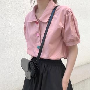 粉色襯衫少女設計感小眾很仙的超仙氣寸上衣甜美學生院風短袖夏季