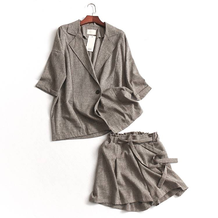 C817 Hong Kong style summer wide one button Lapel Quarter Sleeve season new fashionable coat womens small suit loose suit