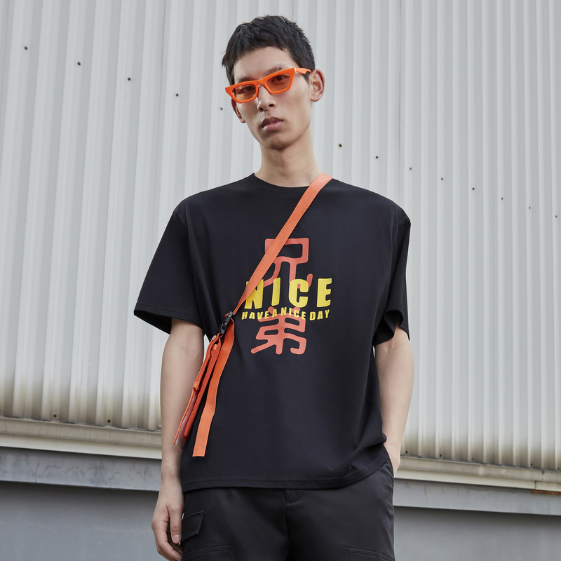 [energetic youth] black cotton letter print 2020 new mens short sleeve cotton T-shirt | CTC c2216