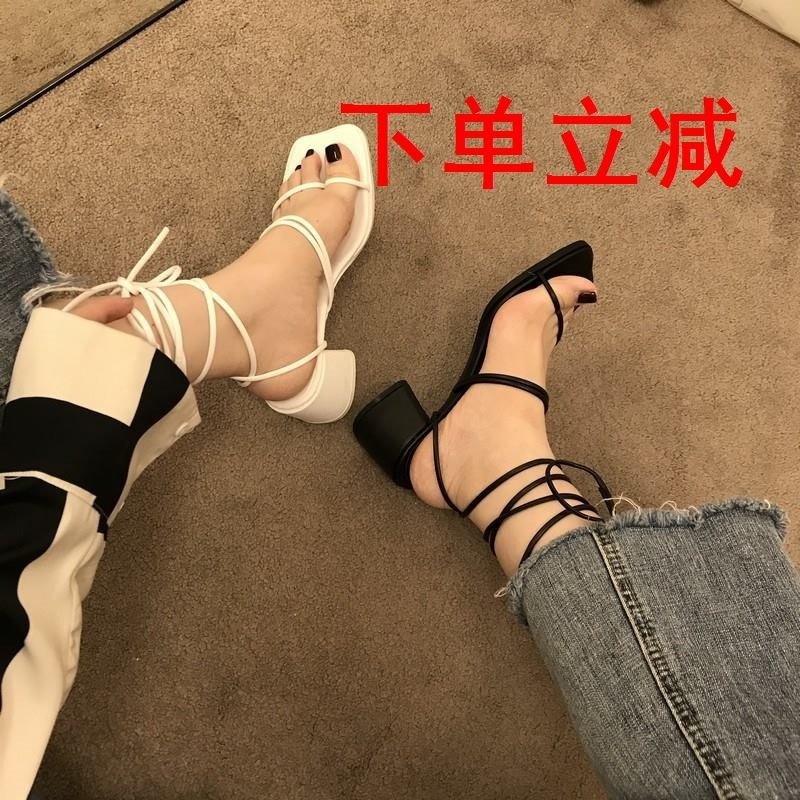 Korean thick heel sandals female 2021 summer new fairy style square head strand empty clip toe HIGH HEEL ANKLE STRAP ROMAN shoes
