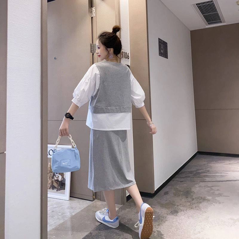 Shanlan summer large loose retro two-piece T-shirt + Split skirt casual two-piece suit