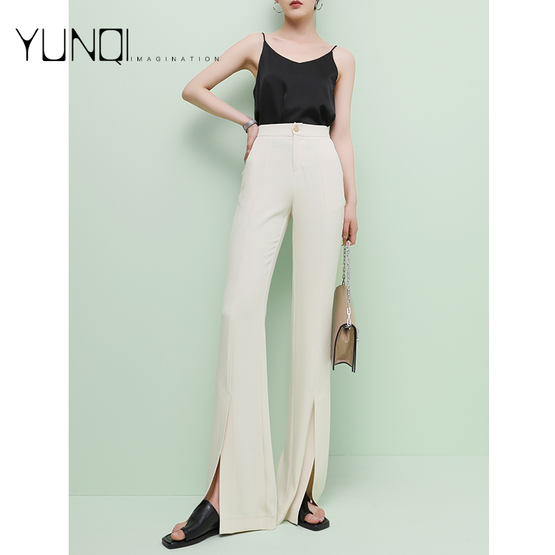 High waist micro flared pants womens 2021 summer new slim split suit pants with drooping feeling tall commuter ol flared pants