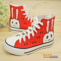 大红色兔子少女生夏天手绘鞋子帆布鞋高帮彩绘鞋学生板鞋中帮涂鸦