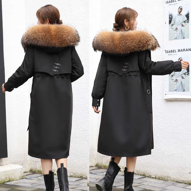 派克服女2020新款外套兔毛皮草内胆可拆卸狐狸貉子中长款廊型大衣