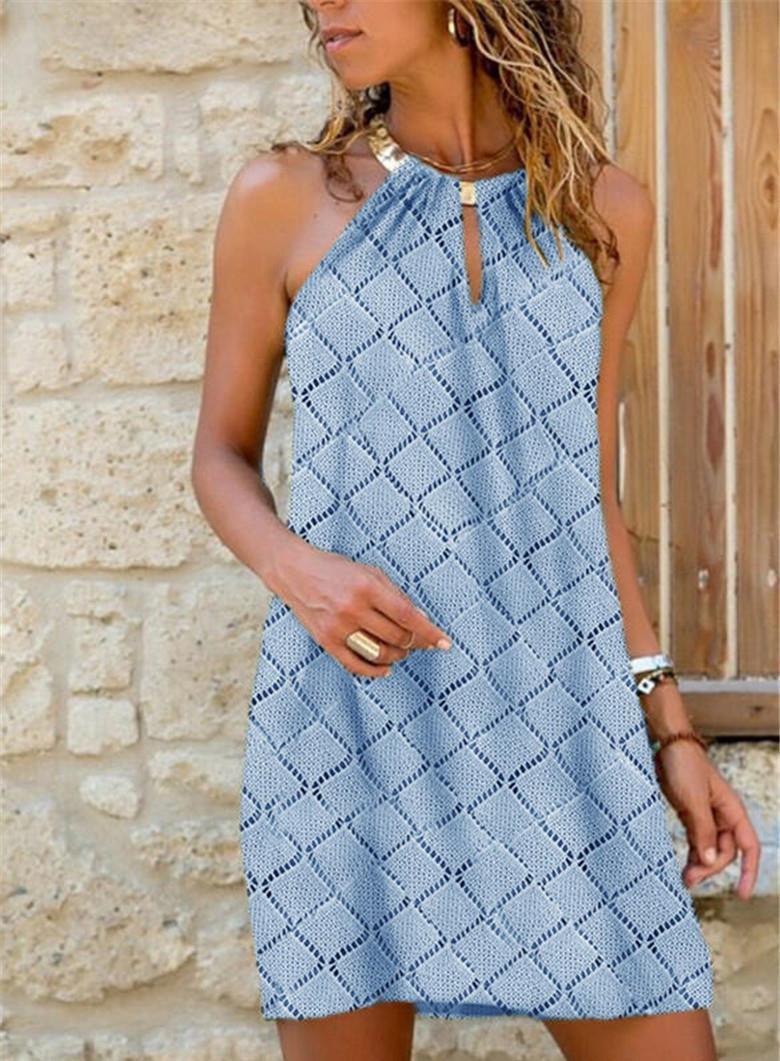 2021 Women's Mid-length Metal Halter Plaid Dress