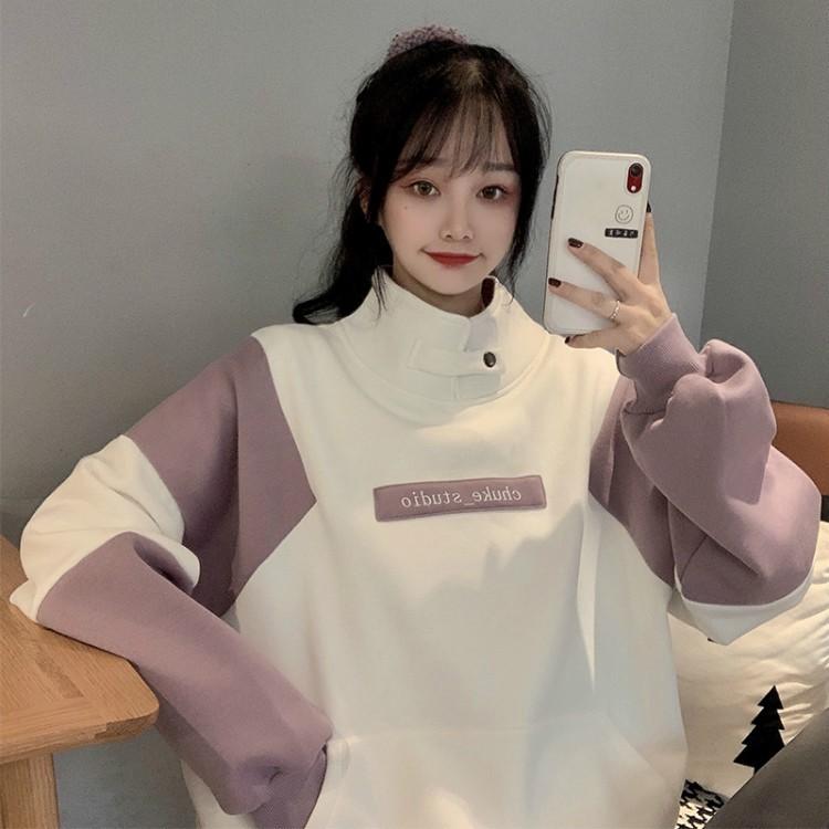 潮牌2021春季新款女装半高领拼接加绒连帽衫韩版字母复古套头卫衣