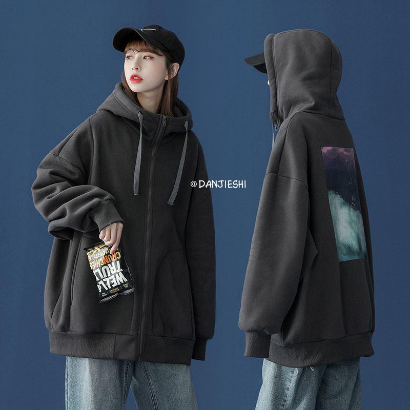 Japanese Vintage Cardigan Jacket Womens trendy half high collar hooded Baseball Jacket Student Korean loose Hong Kong style top