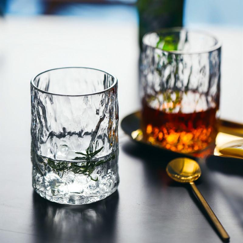 锤纹贵妃杯耐热玻璃泡牛奶专用高级杯子精致树纹杯磨砂简约创意女