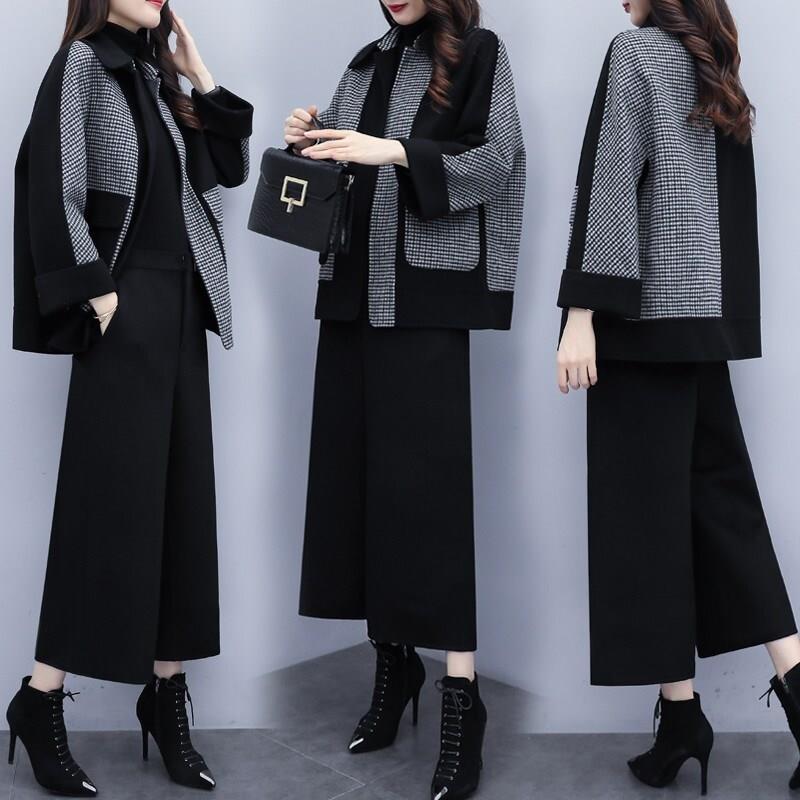 妙福绒2019新款毛呢两件套裤休闲时尚套装女图片
