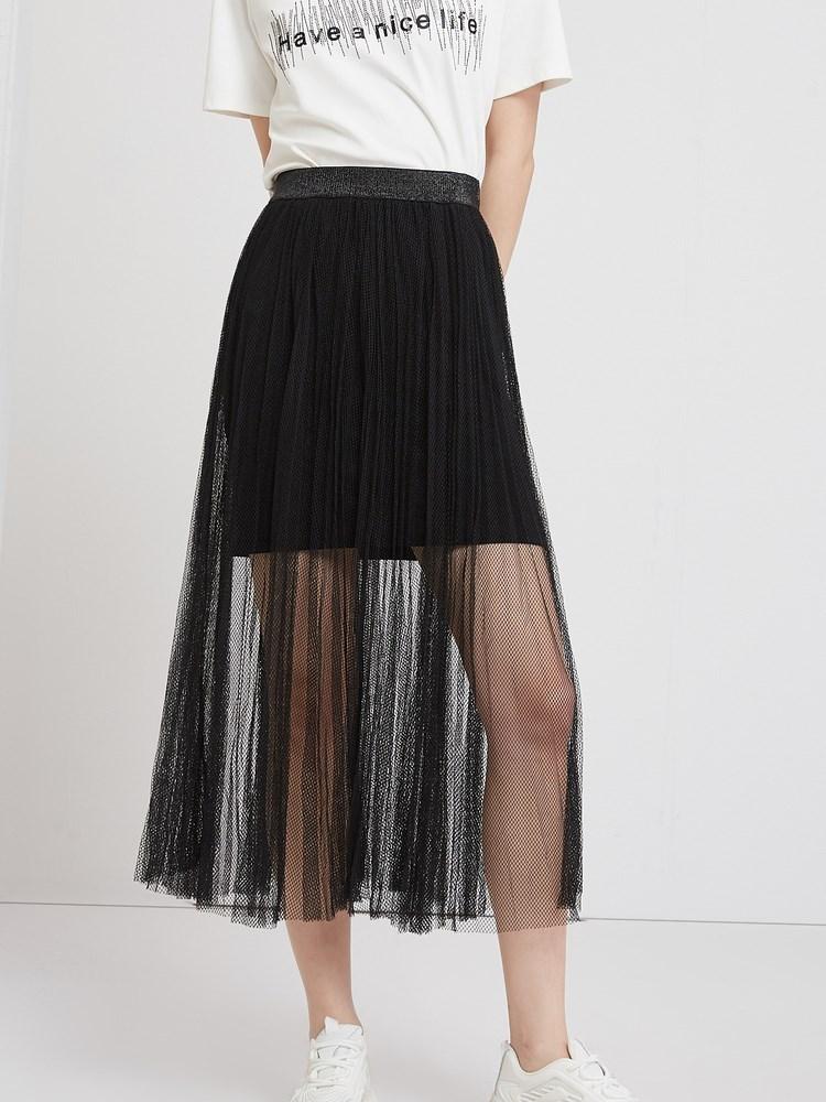 诺曼琦纱裙女夏季2021新款显瘦高腰垂感薄款中长款黑色网纱半身裙