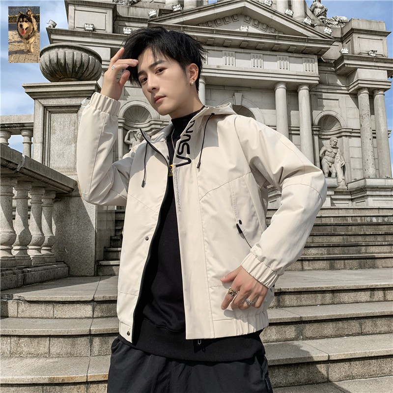 Mohani autumn mens oversized letter embroidered Hoodie fashion casual versatile jacket jacket