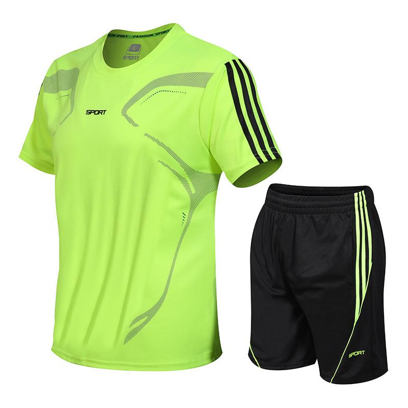 2021夏季新款男士套装韩版休闲圆领T恤短裤速干健身运动套装男