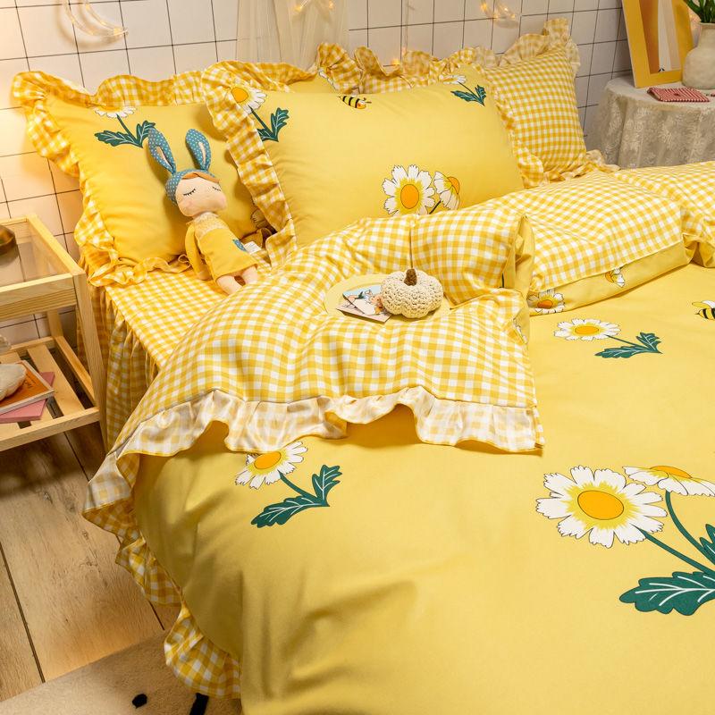 韩式床上用品床裙款ins风四件套少女心公主风被罩床单被套三件套4