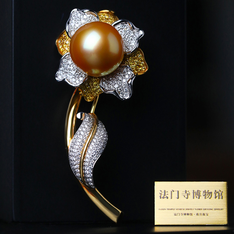 Famen Temple Museum  × Pearl palace jewelry collection high quality Nanyang gold pearl diamond design Brooch