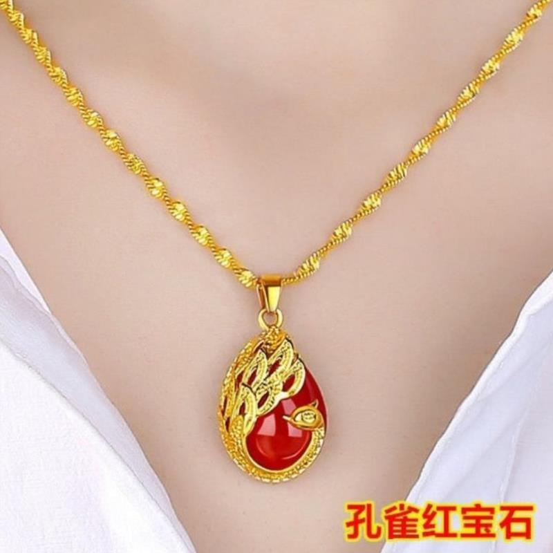 2021 genuine gold and GEM PENDANT womens necklace headdress fashion gift new net Red Fashion Pendant