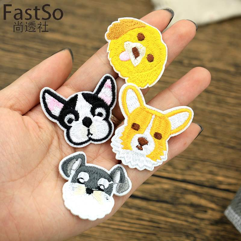 Dog shoes patch cartoon cloth patch embroidery fashion small Decal Sticker cloth down jacket socks hat decoration sticker