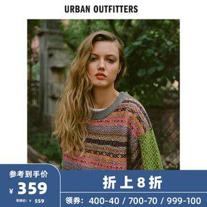 UrbanOutfitters 女士针织衫复古花纹套头毛衣休闲条纹舒适百搭