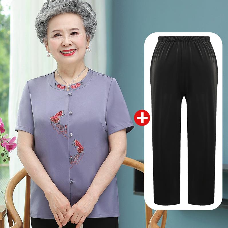 Thickened womens small size 50 granny cotton hemp extra large weight pants mothers summer two-piece set, foreign style and fashion