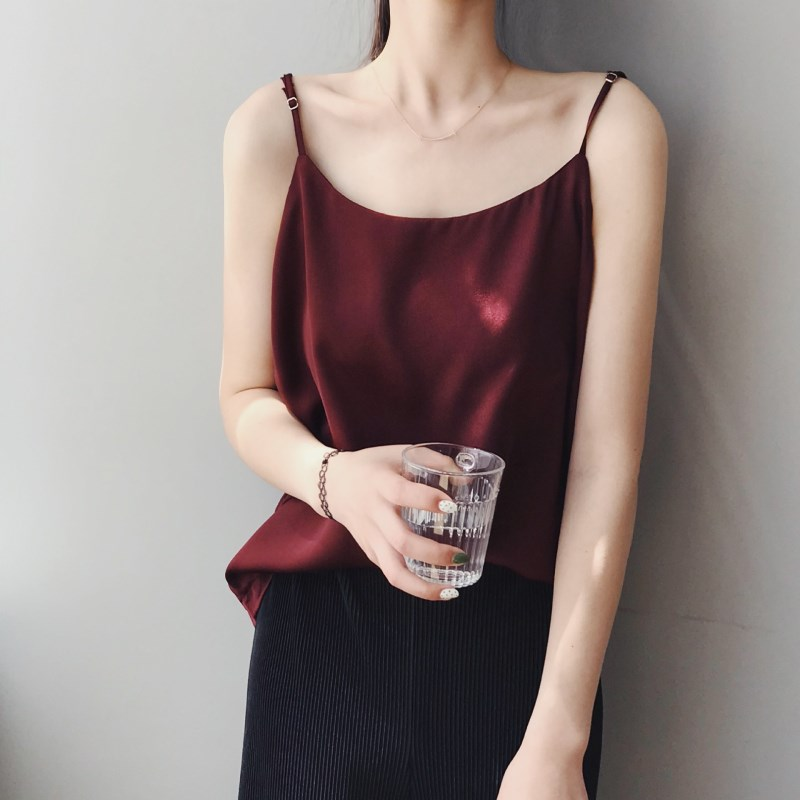 【桑蚕丝】真丝吊带背心女夏季冰丝配西装内搭红色丝绸外穿ins潮