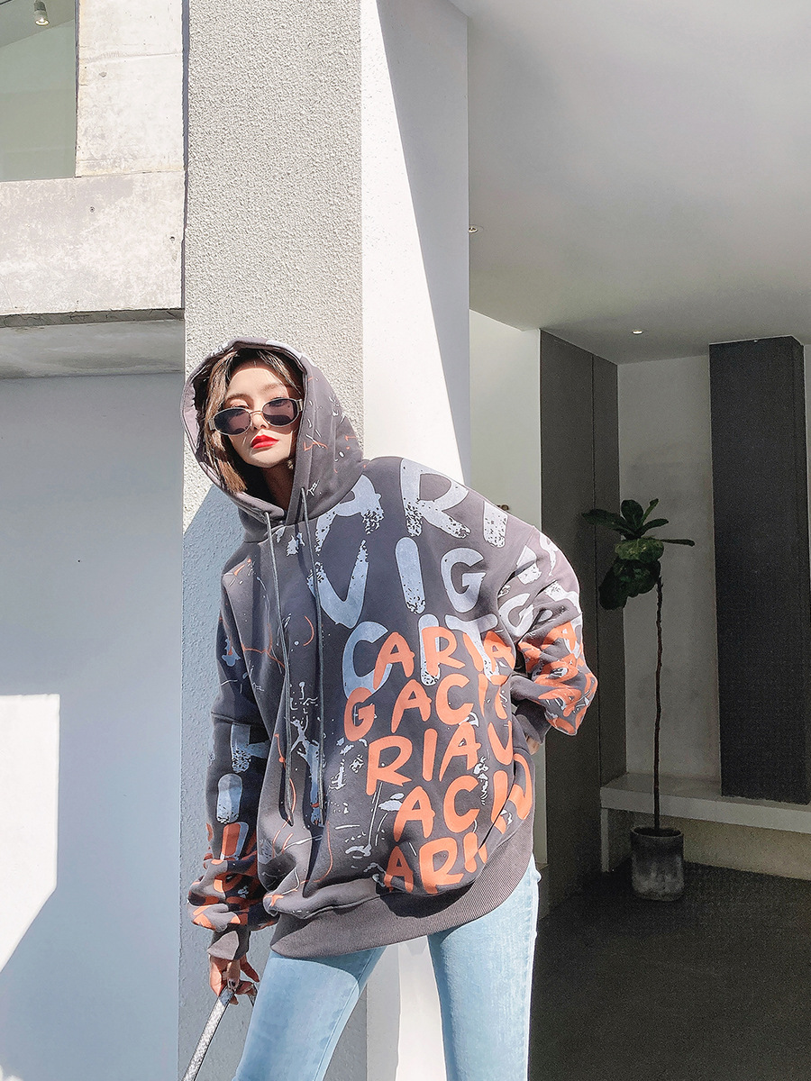 Womens design sense of sweater autumn and winter 2020 new Korean Trend round neck long sleeve hooded drawstring cotton Pullover