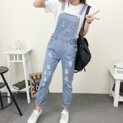 New fall 2018 loose hole light color suspender Jumpsuit pants womens pants student all cotton denim strap.