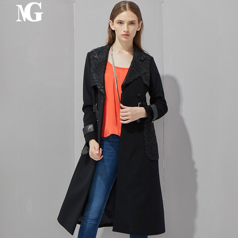 Natural gift leather woven panel design slim fit long wool coat