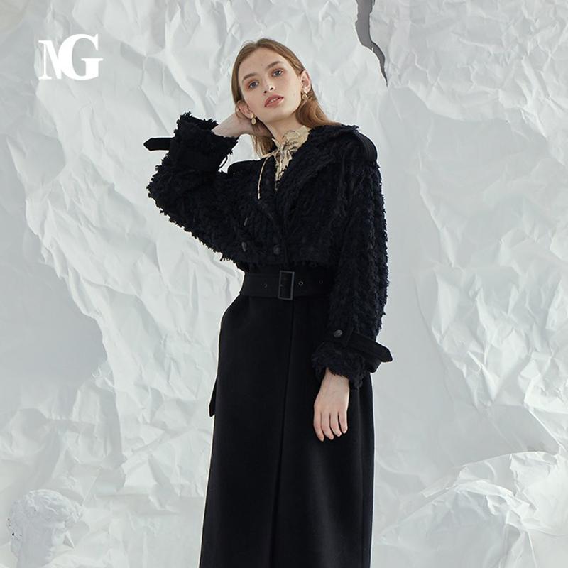 Ng spring and autumn fashion loose wool coat upper body waist belt long A-shaped medium long windbreaker coat female