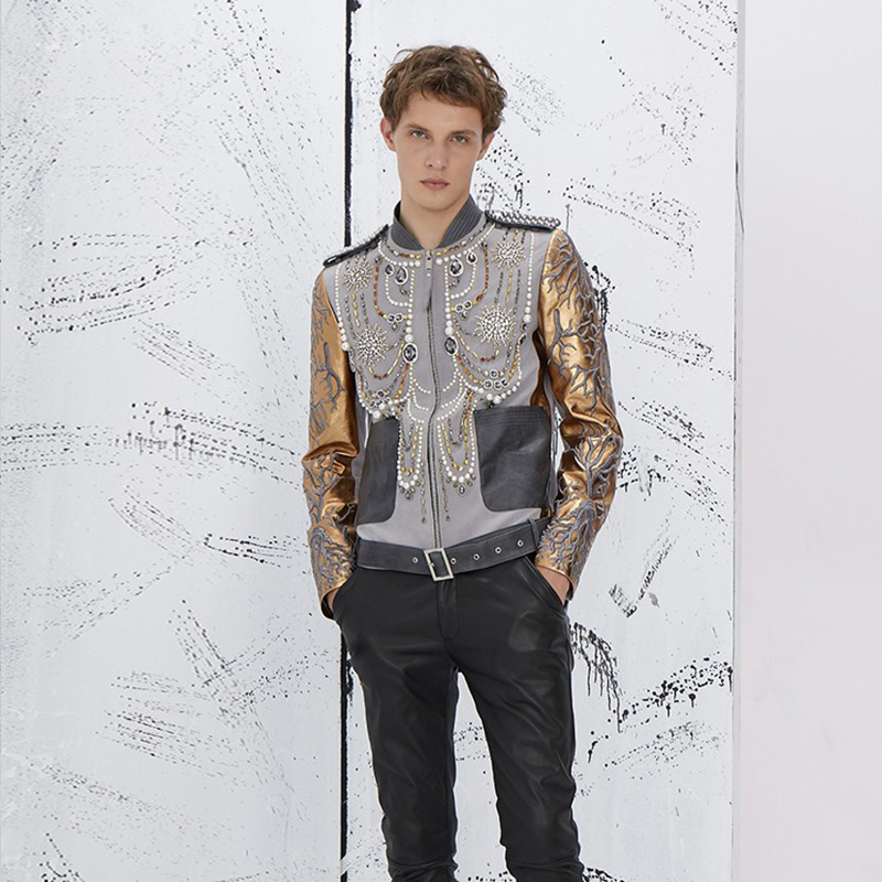 Ng mens jacket jacket contrast color stitching fashion hot drill slim fit embroidery national fashion rivet leather jacket mens fashion