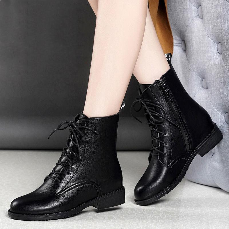优质软皮2020秋冬季新款加绒保暖短靴女平底百搭马丁靴女英伦风