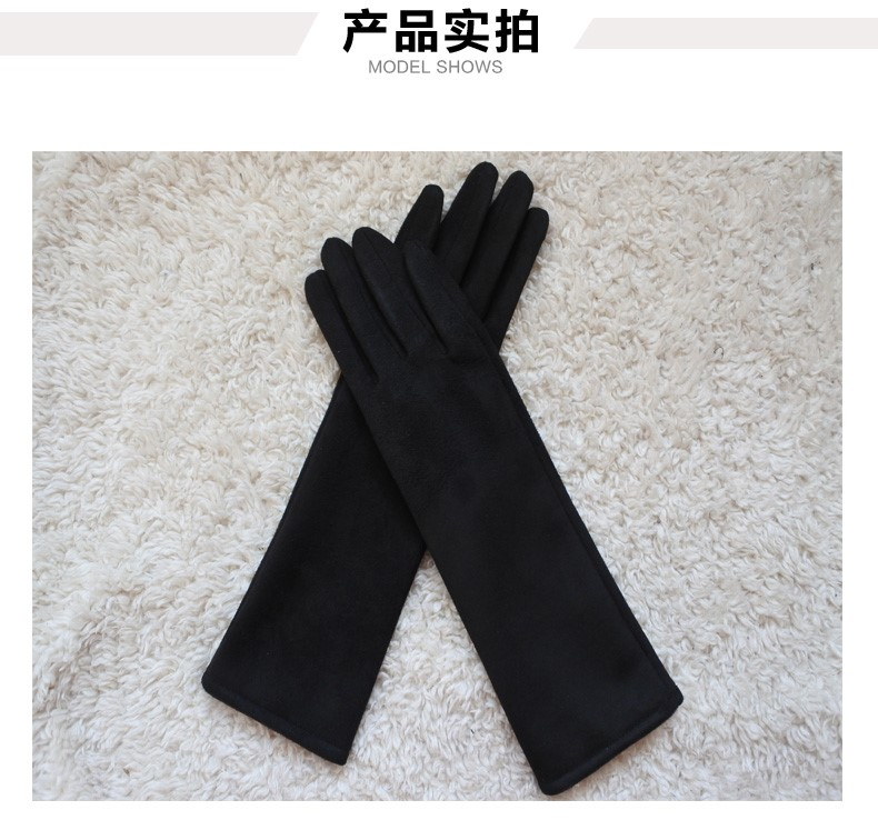 Suede gloves womens autumn and winter Plush warm touch screen Gloves Medium Long Gloves driving and cycling coat gloves.