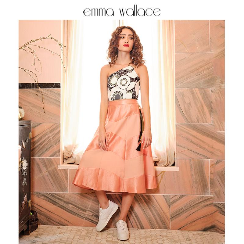 Emma Wallace Emma peach pink A-line skirt half skirt tassel accessories medium length skirt womens new 2020