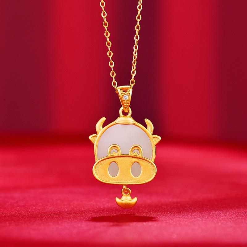 中国珠宝GHD00889 S925银镶和田玉牛运当头项链