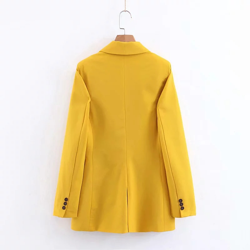 Wmxz early spring 2019 new womens double breasted loose fit solid color suit coat womens lapel