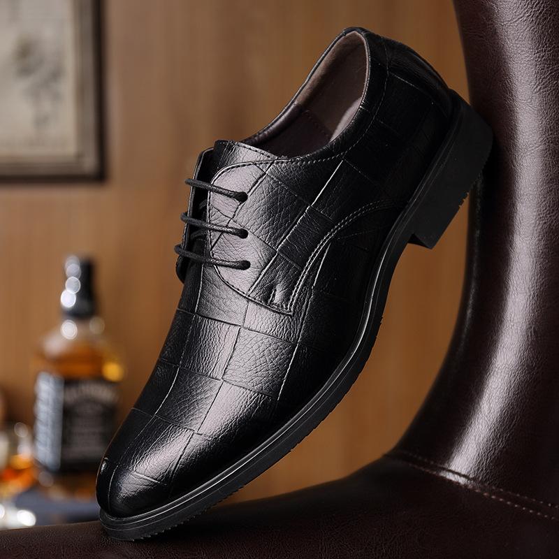 真皮内增高加绒皮鞋男士休闲商务皮鞋正装男鞋单鞋透气鞋子
