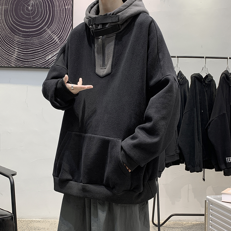 High collar sweater mens spring Hoodie handsome versatile casual loose Hong Kong style clothes Korean fashion jacket
