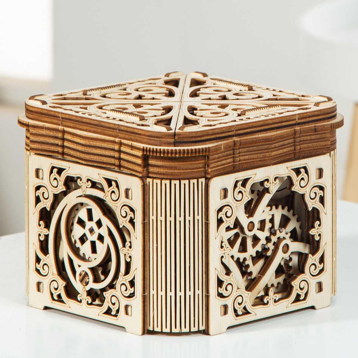 . Creative DIY hand assembled toy wooden mechanical transmission 3D jigsaw puzzle model hidden ring table white gift