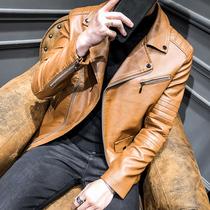 富贵鸟秋季男士皮衣修身韩版2018新款真皮外套帅气上衣大翻领皮褂