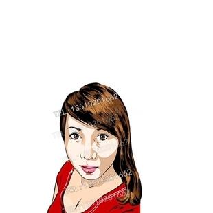 欧美人物设计填色插图手绘真人漫画设计 人物肖像 定制时装 个性