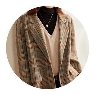 索菲絲爾格子毛呢西裝外套女2020秋冬新款休閒厚短款西服呢子大衣