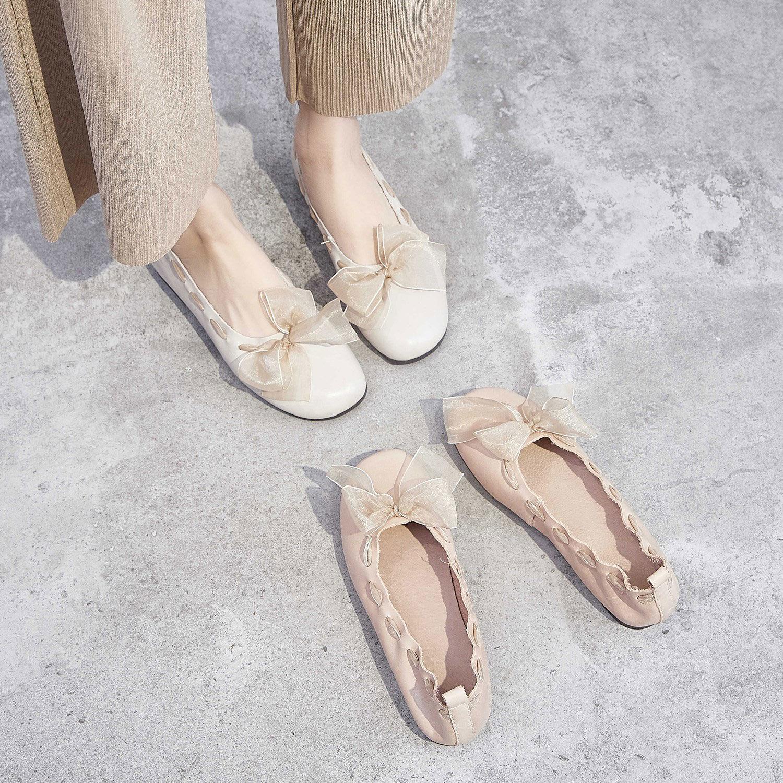 中國代購|中國批發-ibuy99|低跟鞋|晚风温柔鞋低跟单鞋女2020春款浅口百搭仙女夏季流行丝带豆豆潮鞋