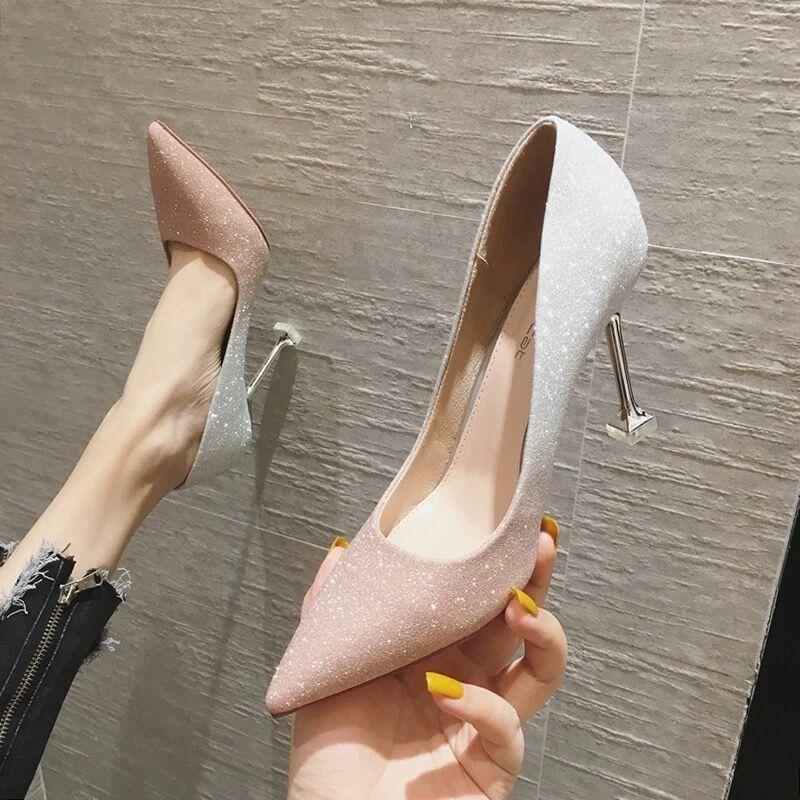 中國代購 中國批發-ibuy99 高跟鞋 紫色高跟鞋名媛法式小高跟鞋女2021年新款学生女生十八岁婚鞋细跟