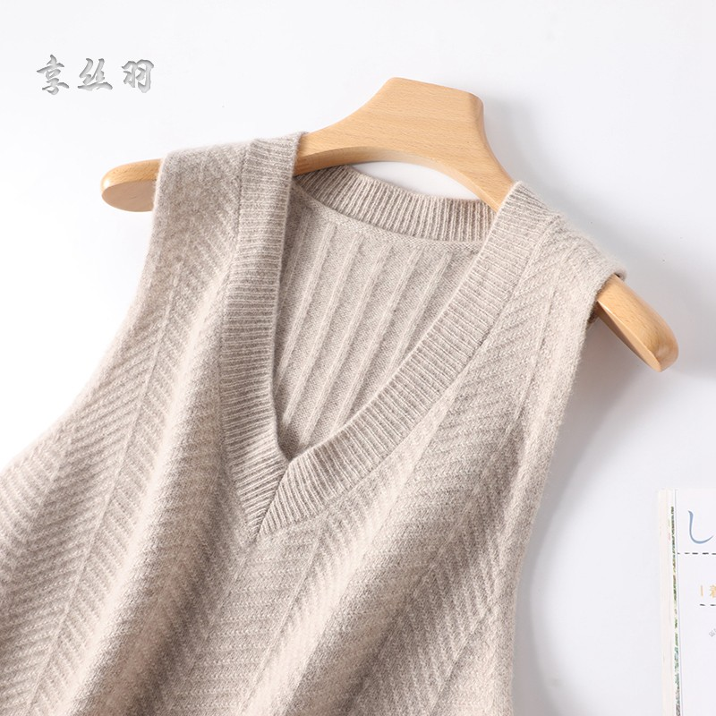 V-neck loose knit with vest vest womens pure wool sleeveless waistcoat foreign style sweater womens new fashion in winter
