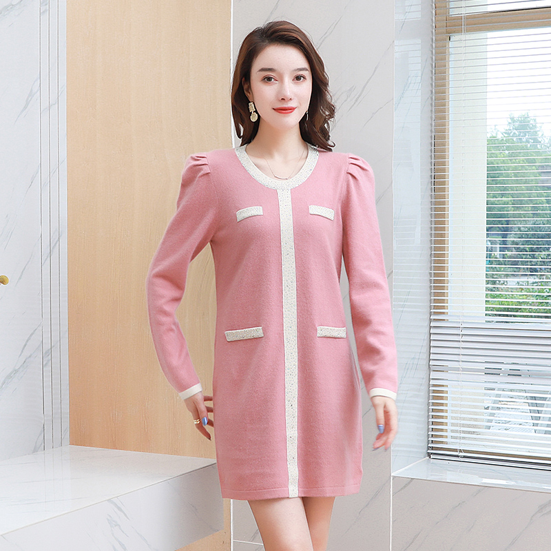 100 wool small fragrance round neck dress Korean medium length new 2020 popular cashmere thickened cashmere sweater for women