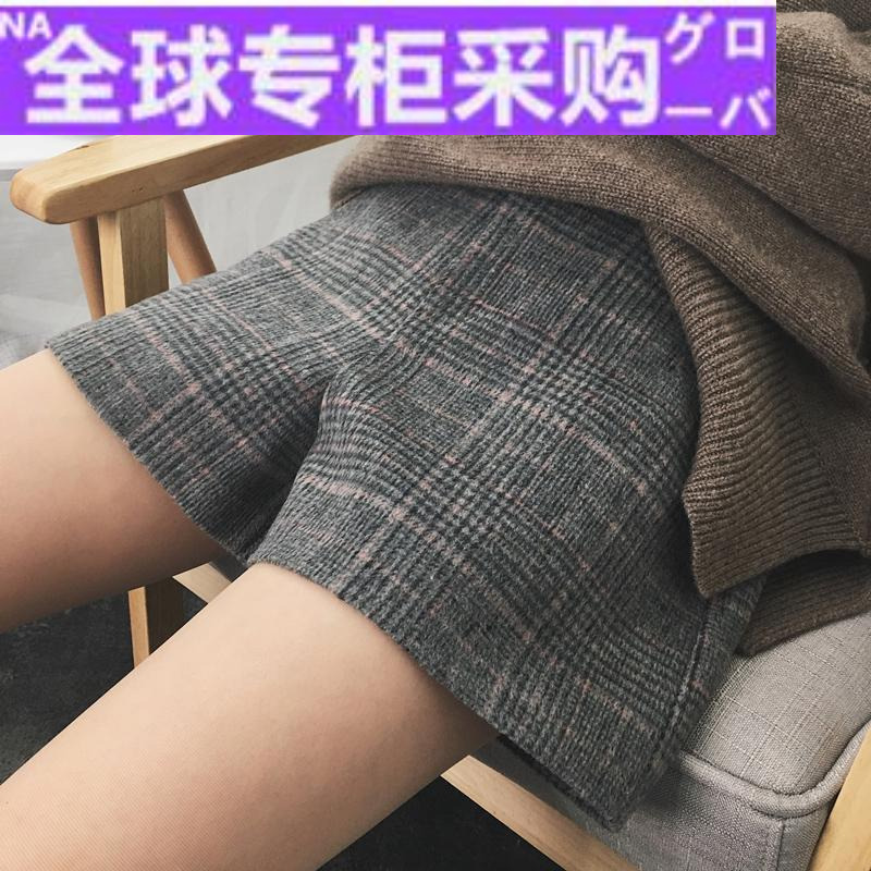 Japanese FH autumn and winter Korean womens Retro High Waist Wide Leg Wool Plaid Wool shorts