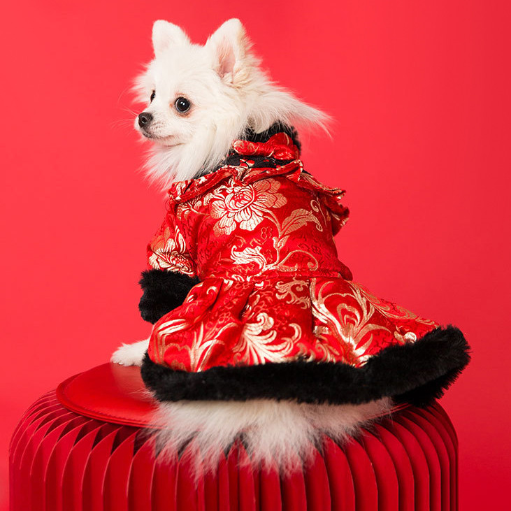 New year pet brocade Tang dog exquisite embroidery dress winter Teddy New Year Festival Plush clothes